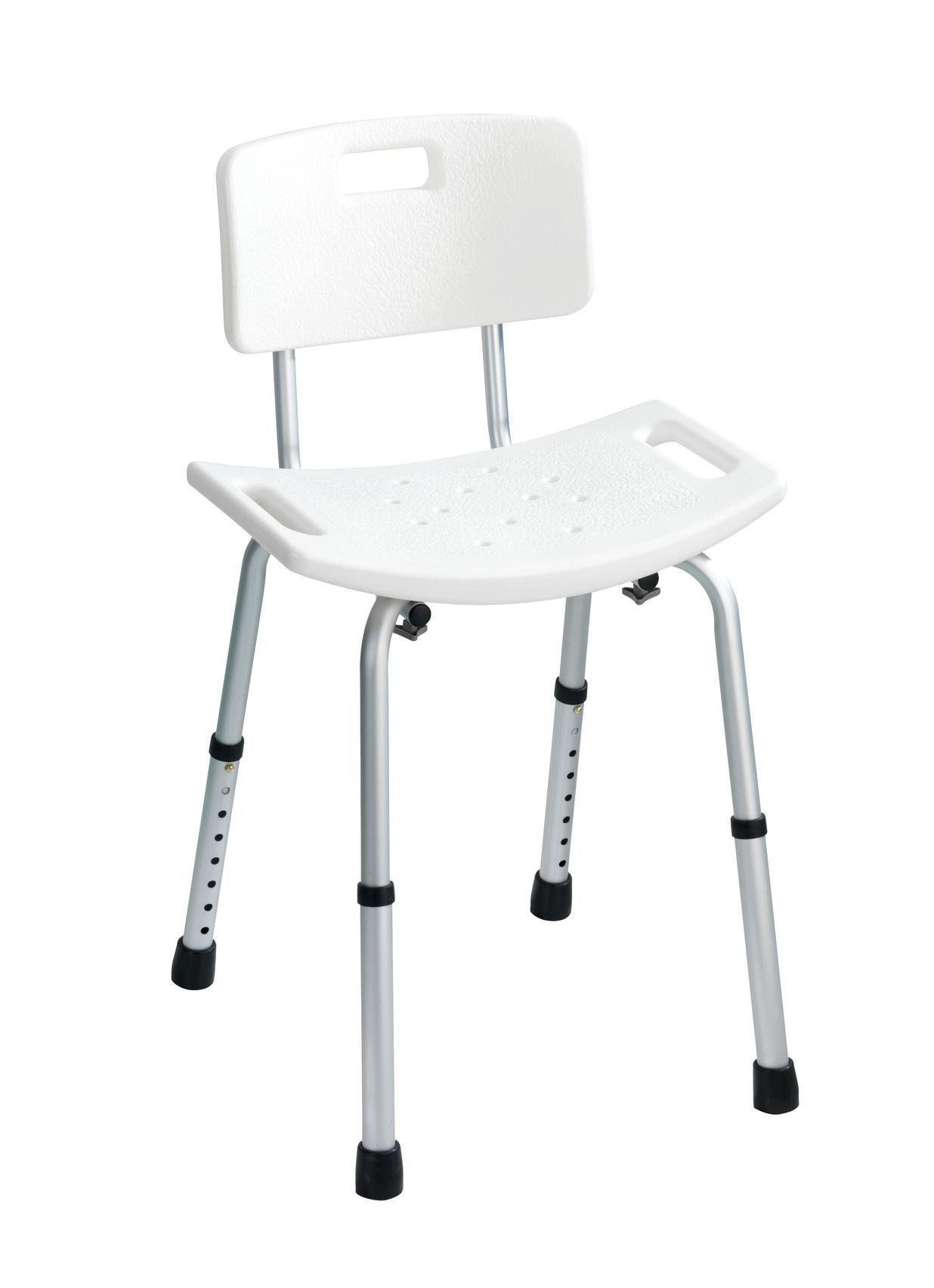 WENKO Dusch- und Badhocker mit Rückenlehne Secura, belastbar bis 130 kg
