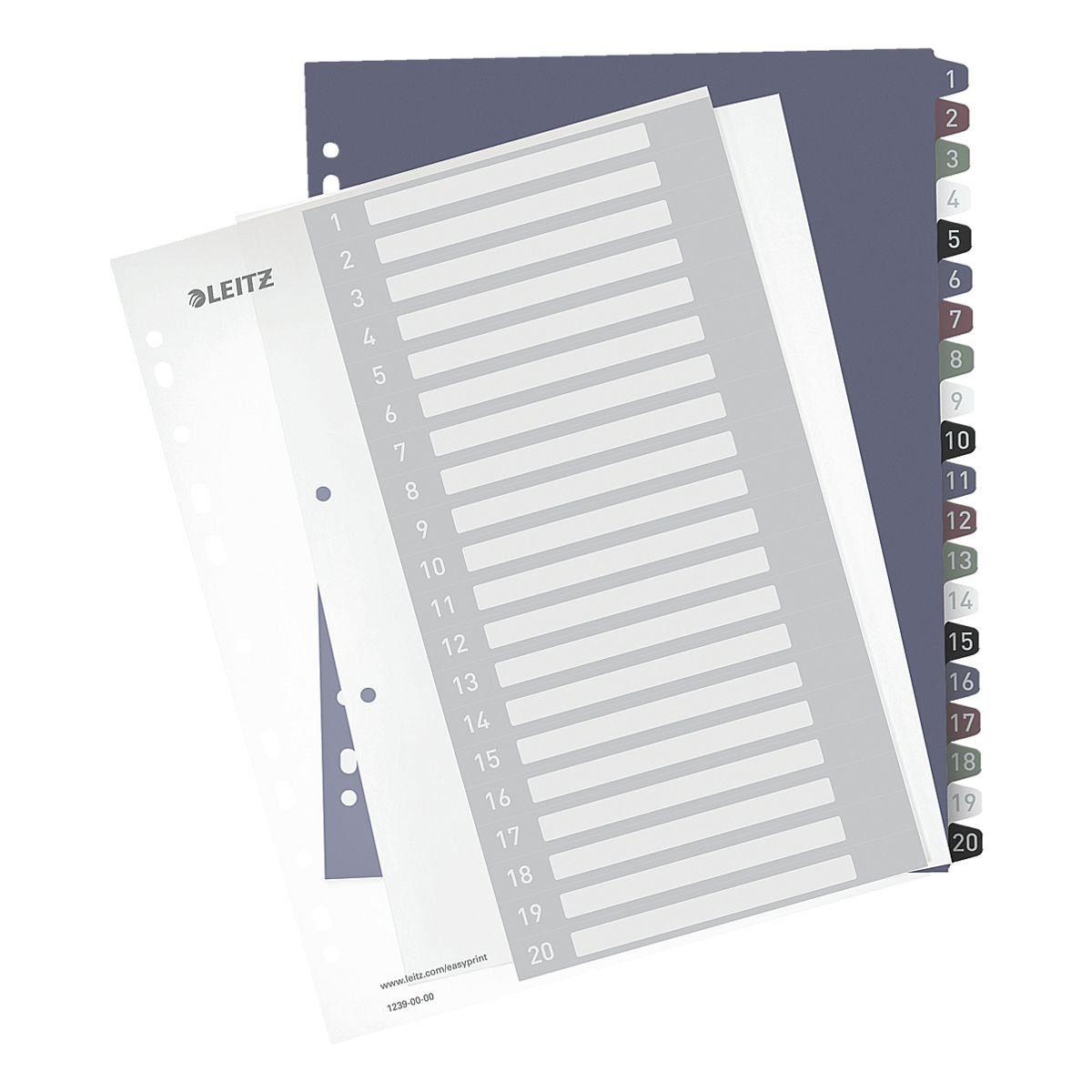 LEITZ Kunststoffregister 1-20 A4 Maxi PC-beschriftbar »Style 1239«