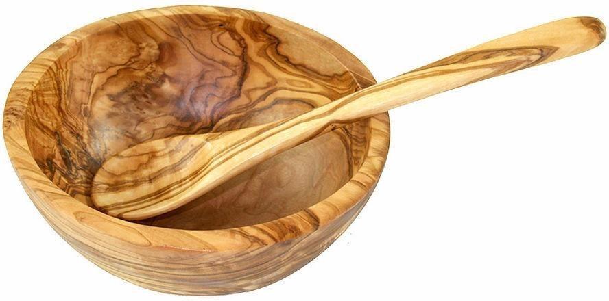 Olivenholz Müslischale Ø 14 cm, incl. Esslöffel