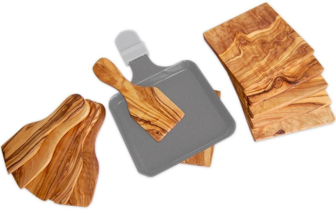 Olivenholz Raclette-Set, 12-teilig