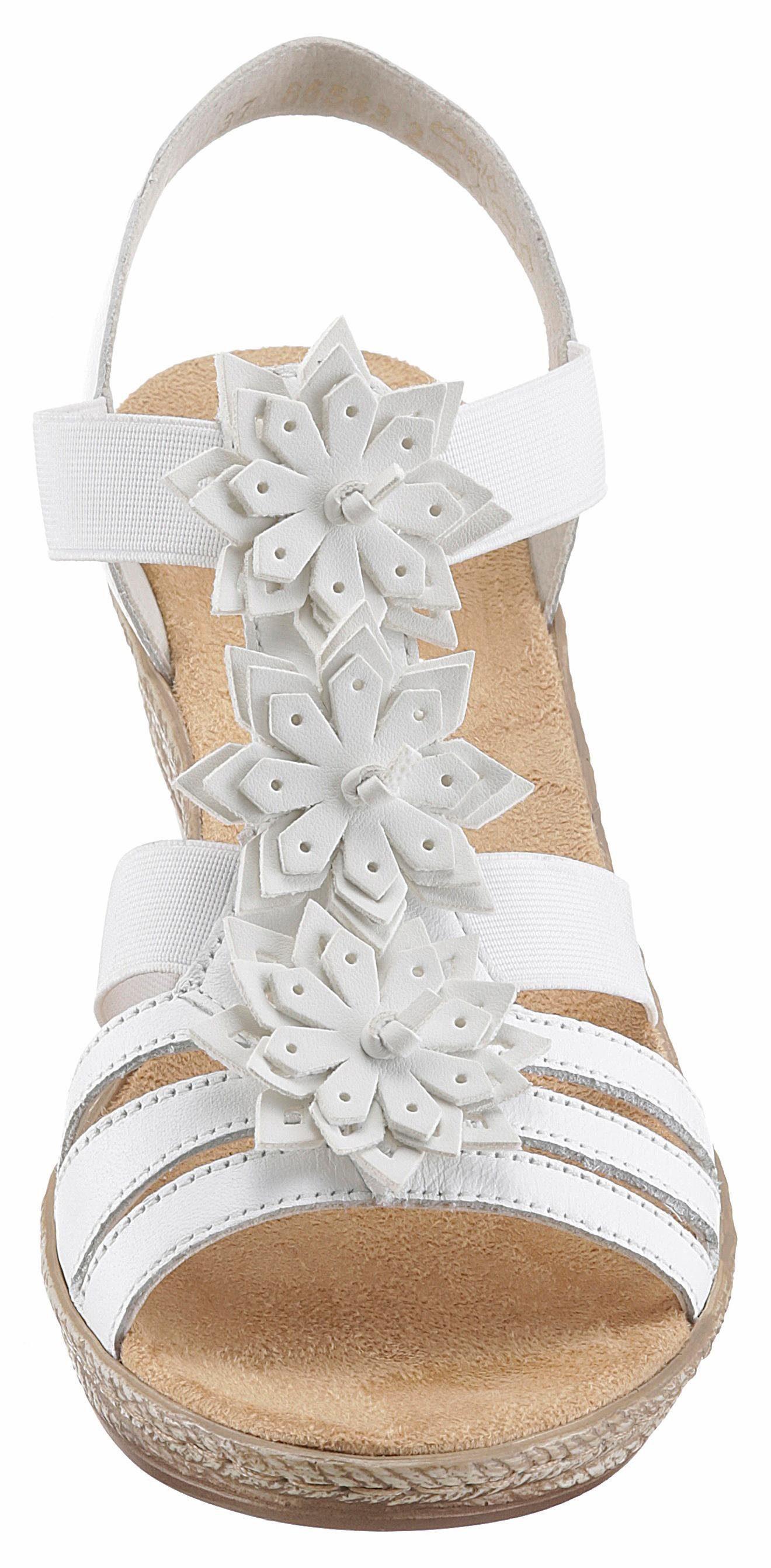 Rieker Sandalette, mit modischen Blüten verziert  weiß
