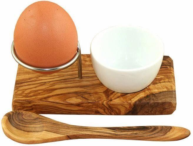 Olivenholz Eierbecher mit Eierlöffel, »Design Plus«