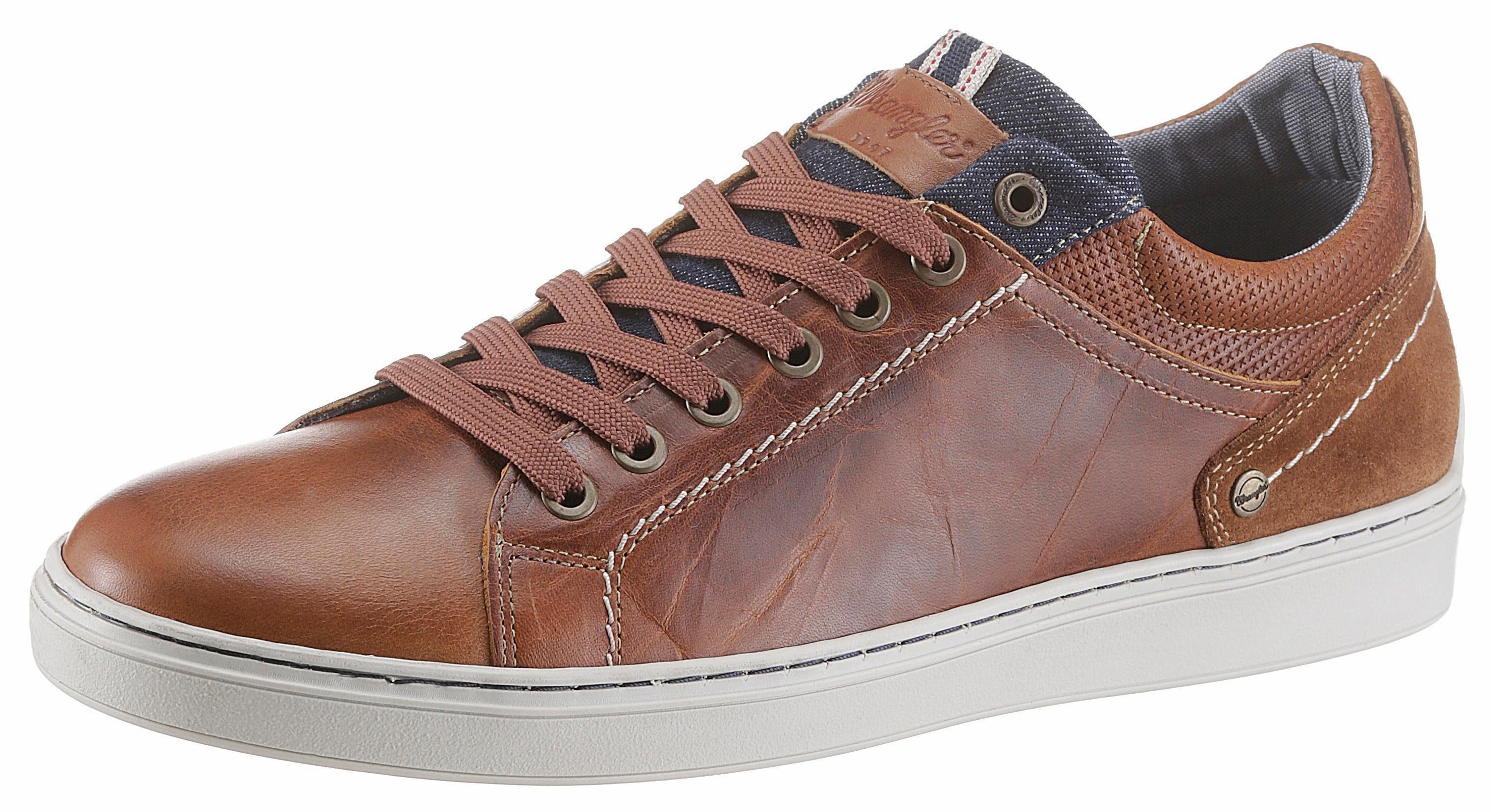 Wrangler Owen Derby Sneaker, mit Jeanseinsatz an der Zunge online kaufen  cognac-used