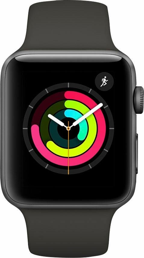 Apple Watch Series 3 GPS, Aluminiumgehäuse Space Grau, 42mm mit Sportarmband