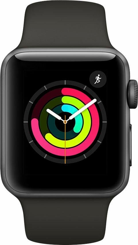 Apple Watch Series 3 GPS, Aluminiumgehäuse Space Grau, 38mm mit Sportarmband