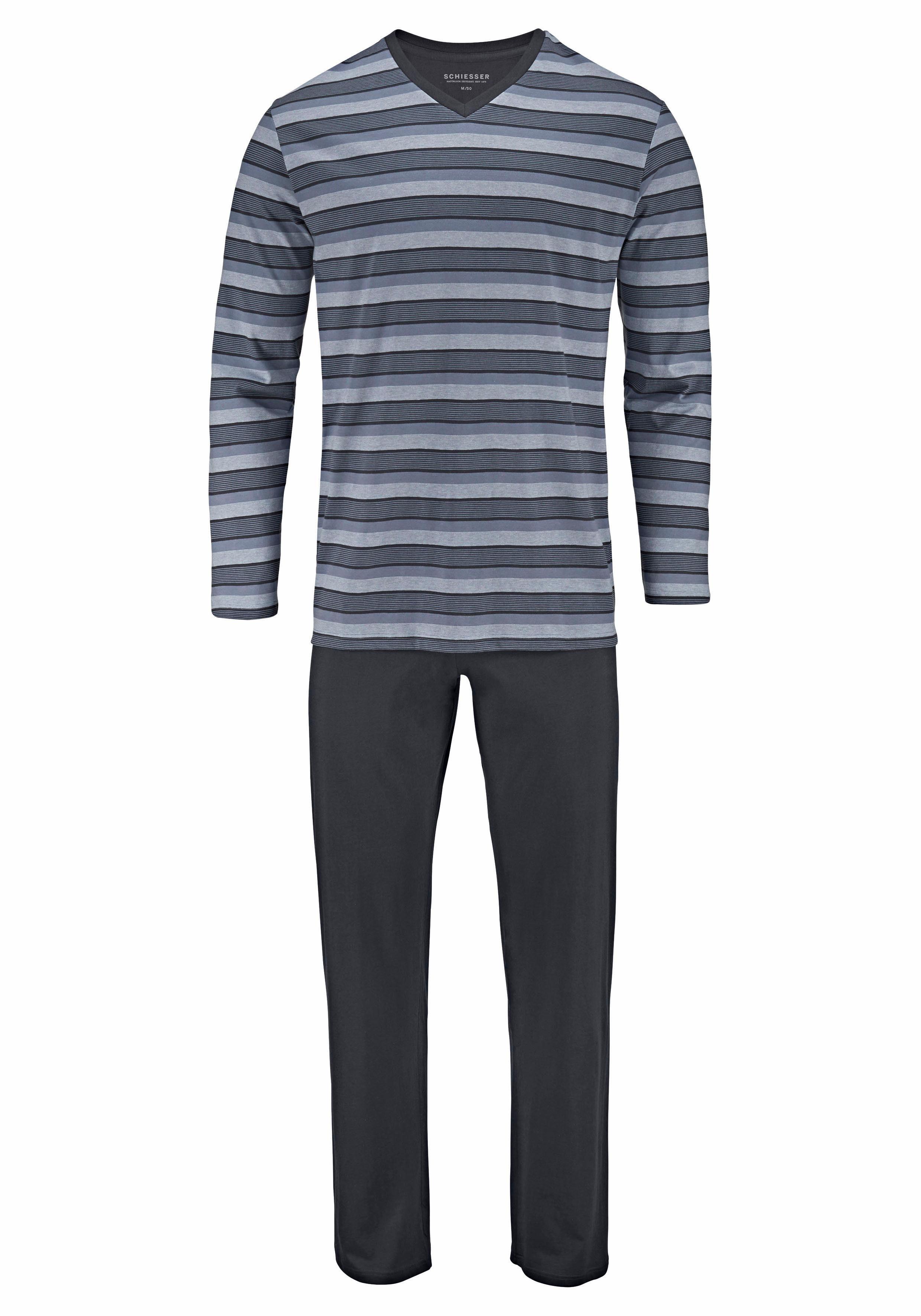 Schiesser Pyjama lang, Streifen mit V-Ausschnitt