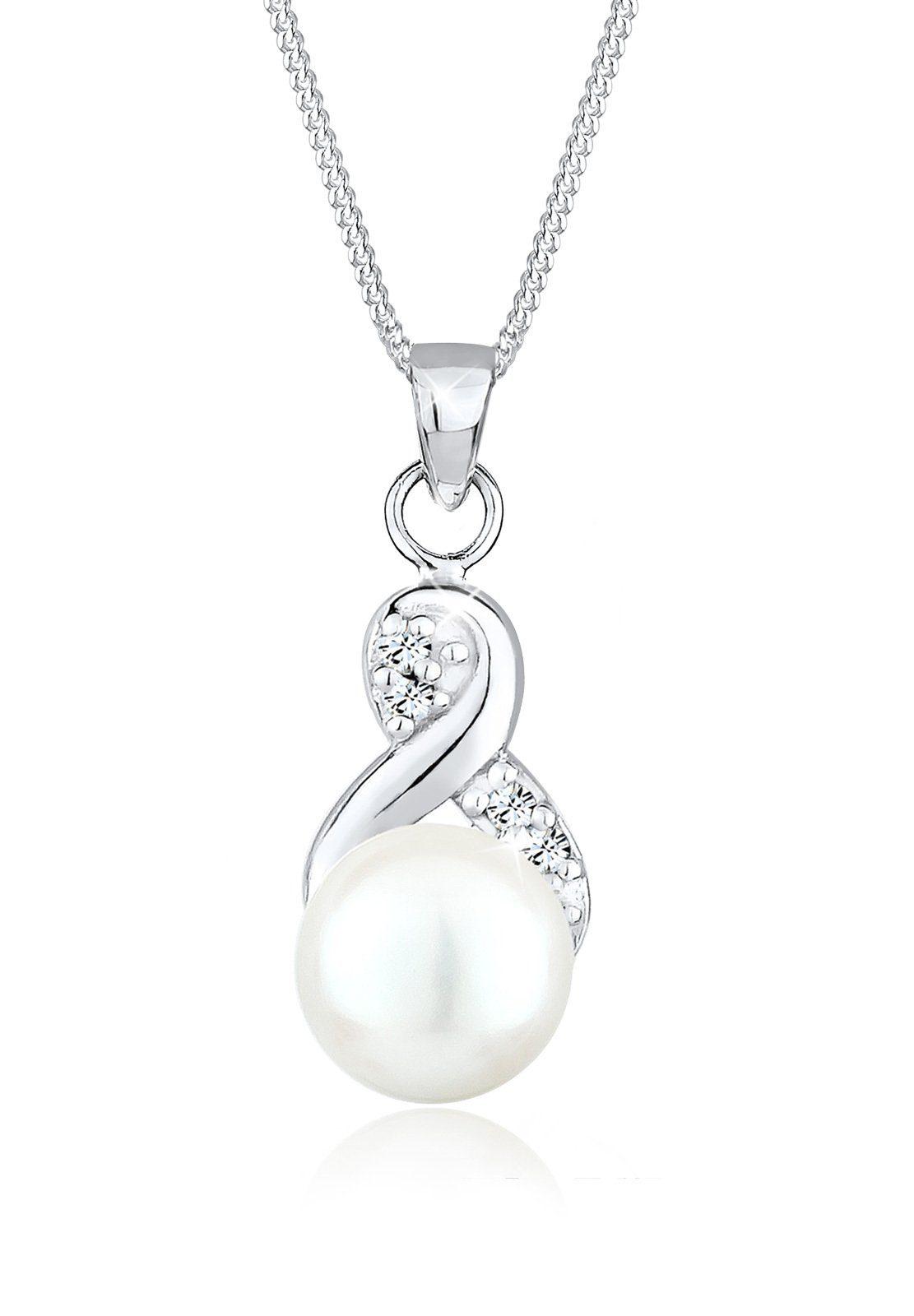Perlu Halskette »Infinity Perle Swarovski® Kristalle 925 Silber Rom«