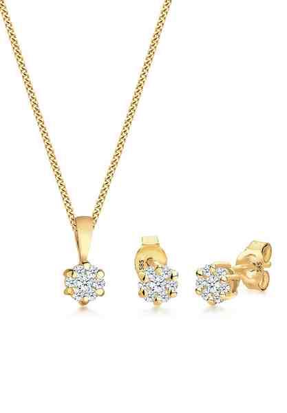 Diamore Set: Schmuckset »Blume Klassisch Diamanten (0.45 ct.) 585 Gelbgold« 2 tlg.