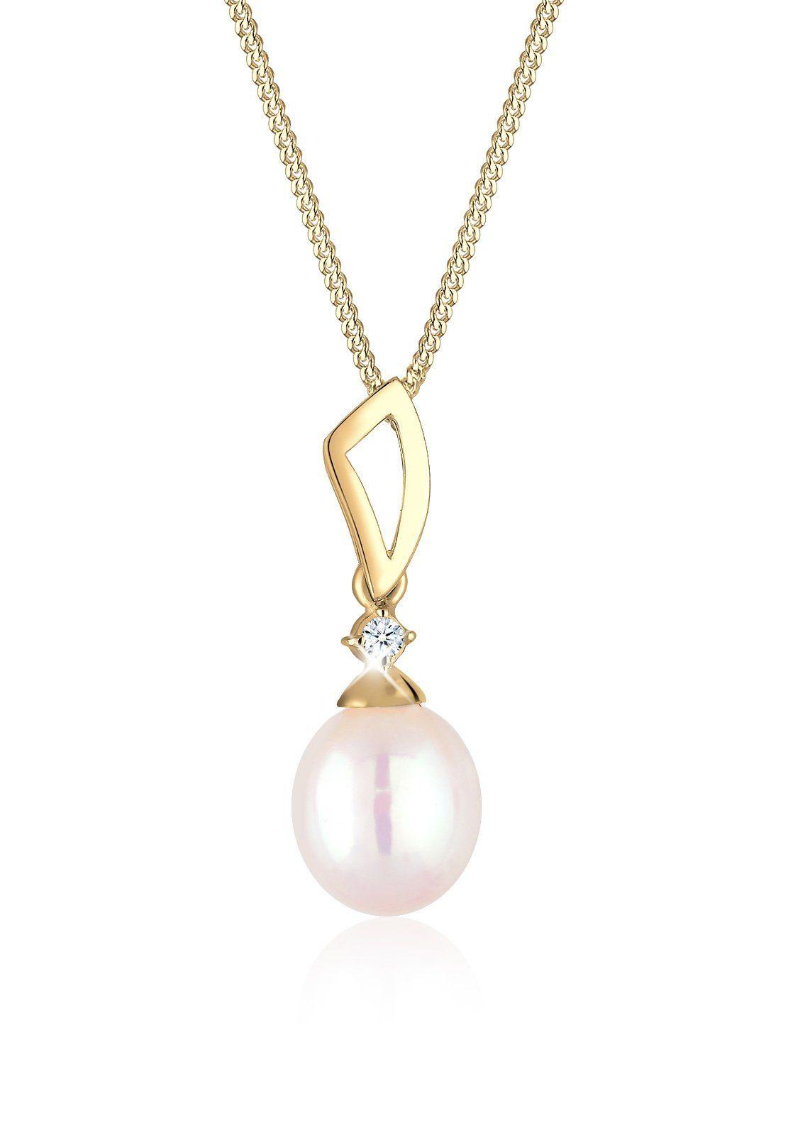 Diamore Halskette »Verspielt Perle Diamant (0.03 ct.) 585 Gelbgold«