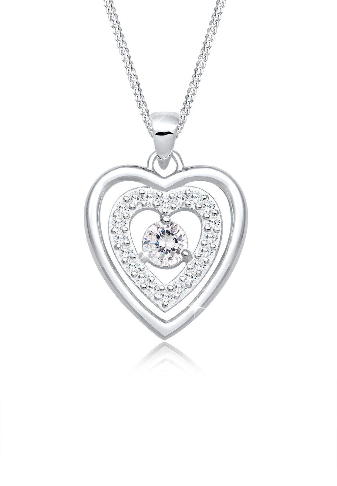 Elli Halskette »Herz Liebe Zirkonia Medaillon 925 Silber«
