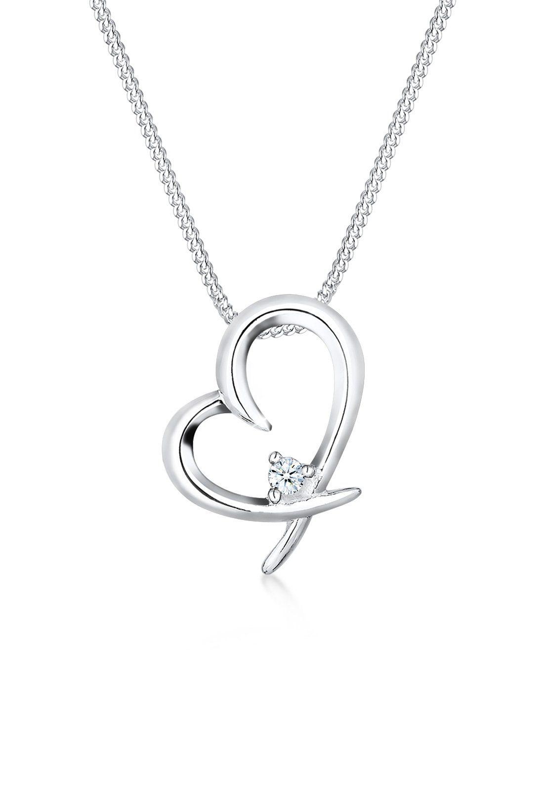 Diamore Halskette »Herz Verbunden Diamant (0.03 ct.) 925 Silber Sanja«