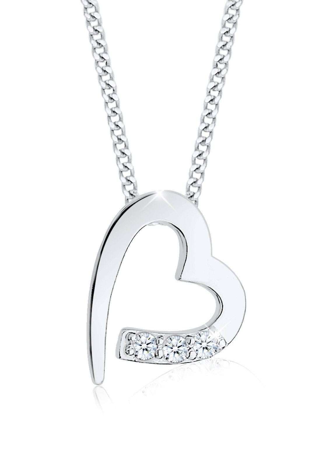 Diamore Halskette »Herz Klassisch Diamant (0.06 ct.) 925 Silber«