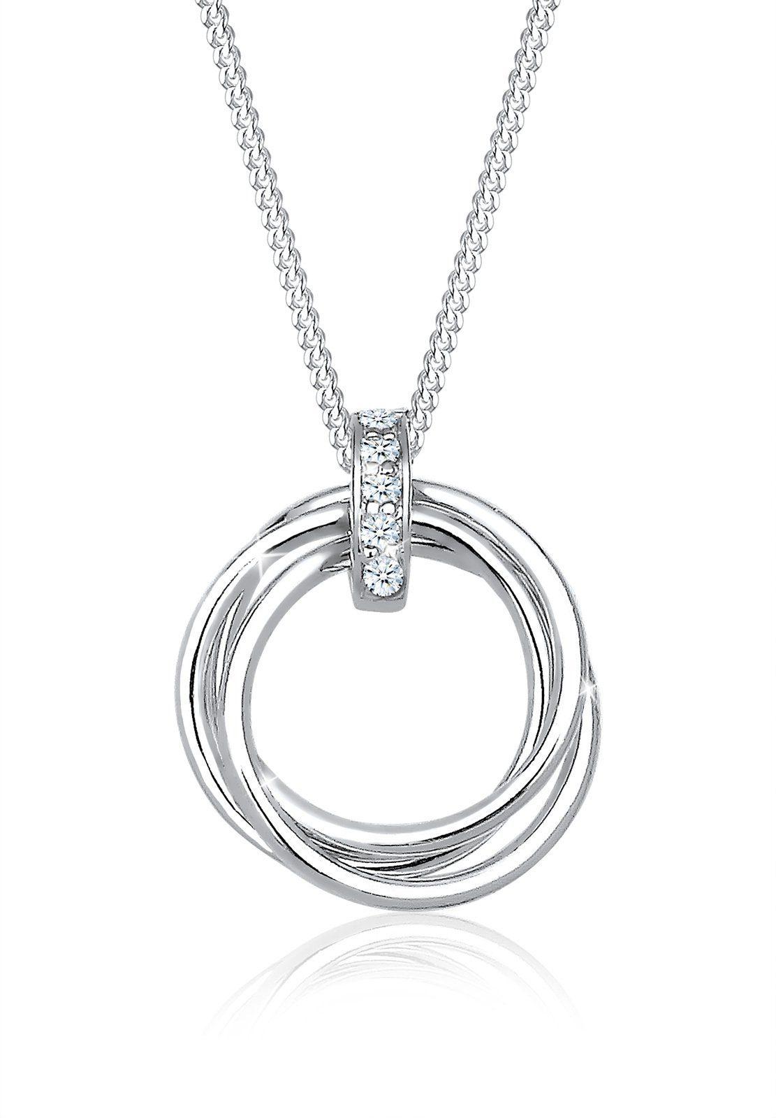 Diamore Halskette »Kreis Trio Diamant (0.05 ct.) 925 Sterling Silber«