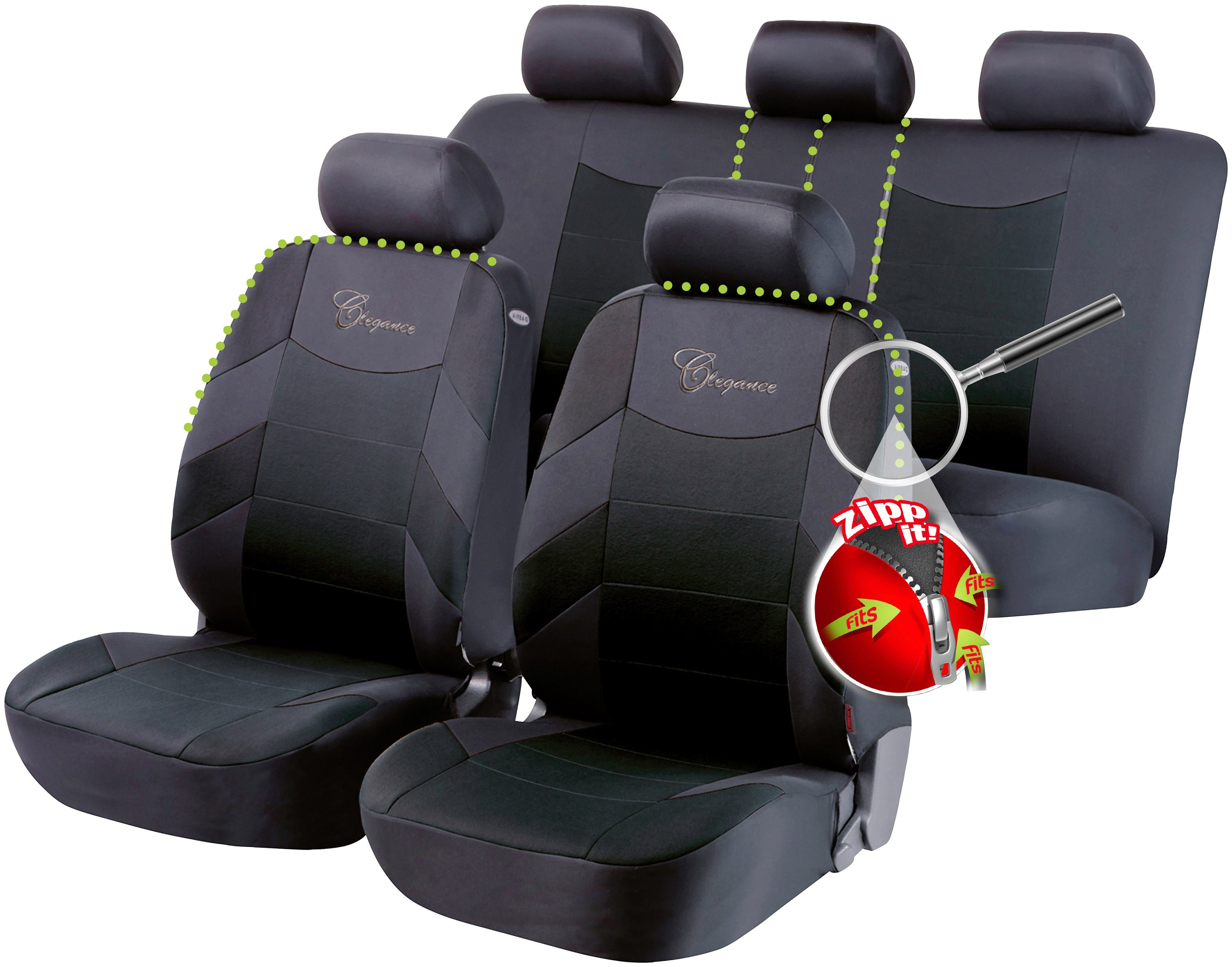 WALSER Autositzbezug »ZIPP-IT Basic Elegance«, mit Reissverschluss-System
