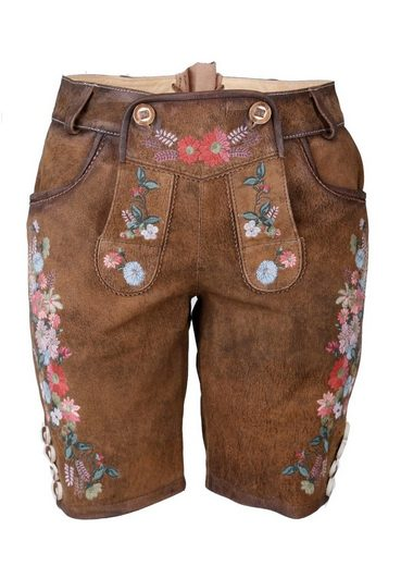 Kruger Madl Costume Leather Pants Short Women With Floral Embroidery