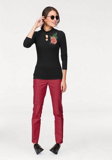 Tamaris Langarmshirt, mit Blumenapplikation