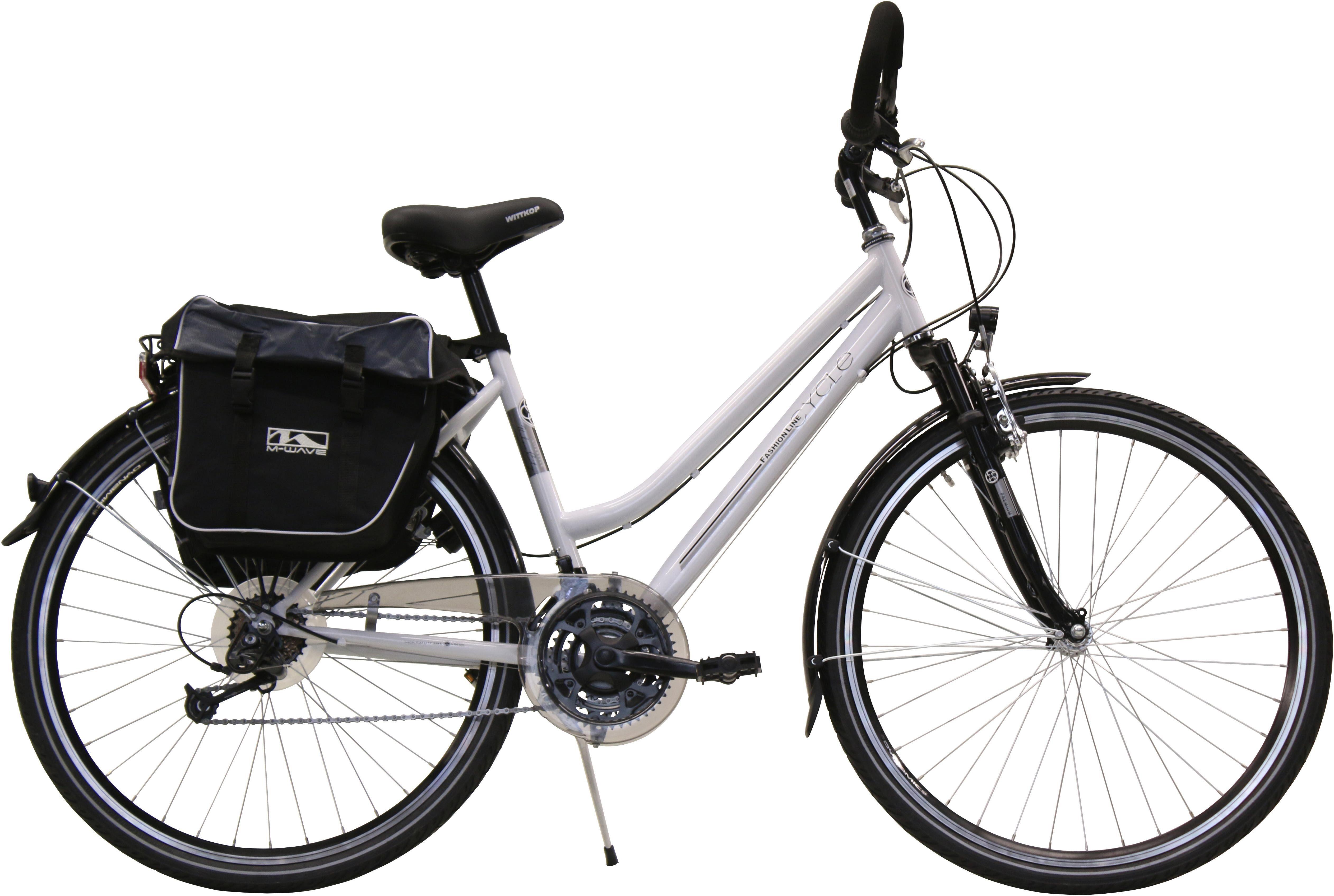 FASHION LINE Trekkingrad, 21 Gang Shimano Deore Schaltwerk, Kettenschaltung, (Set, mit Gepäckträgertasche)