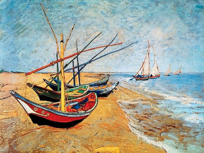 Home affaire Deco-Panel »V.VAN GOGH / Barche sulla spiaggia«, Schiffe, 80/60 cm