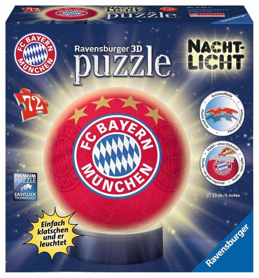 ravensburger 3d puzzleball 72 teile und leuchtfunktion nachtlicht fc bayern m nchen online. Black Bedroom Furniture Sets. Home Design Ideas