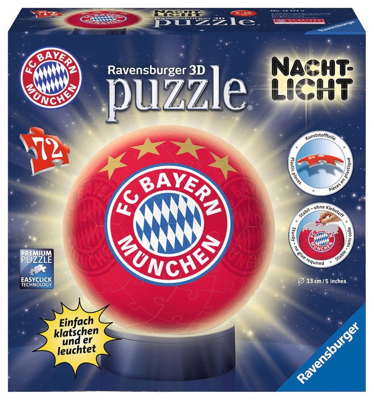 Ravensburger 3D Puzzleball, 72 Teile und Leuchtfunktion, »Nachtlicht FC Bayern München«