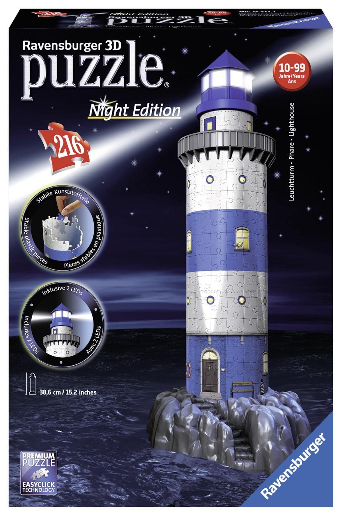 Ravensburger 3D Puzzle, 216 Teile, »Leuchtturm bei Nacht«