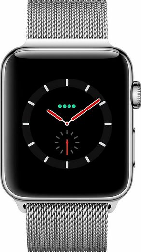 Apple Watch Series 3 GPS + Cellular, Edelstahlgehäuse, 38mm mit Milanaise Armband