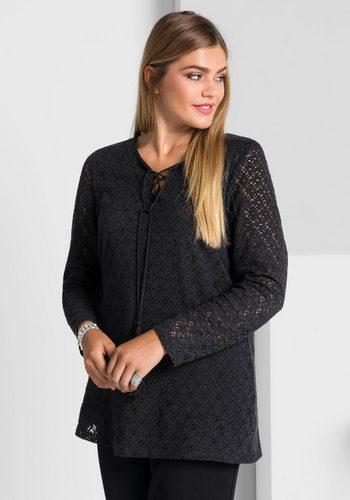 Damen sheego Style Tunika Tailliert und leicht ausgestellt schwarz | 04054697972481