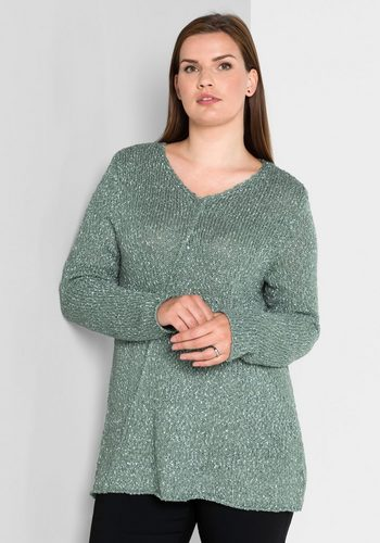 Damen sheego Style V-Ausschnitt-Pullover in A-Linien-Form grün | 04054697524024