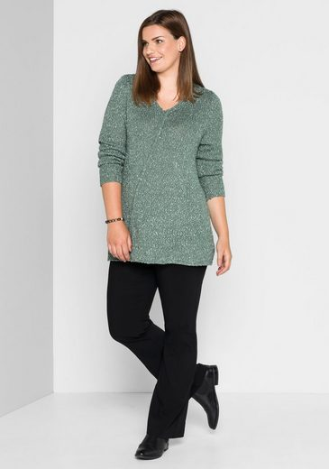 sheego Style V-Ausschnitt-Pullover, in A-Linien-Form;