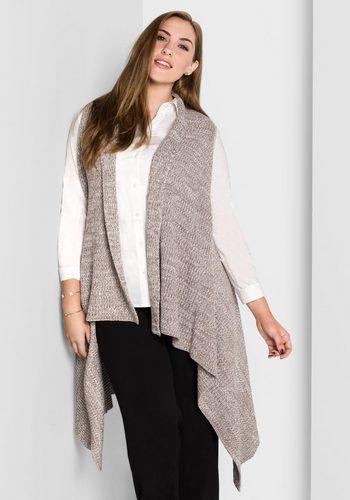 Damen sheego Style Strickweste in Zipfelform braun | 04054697535044