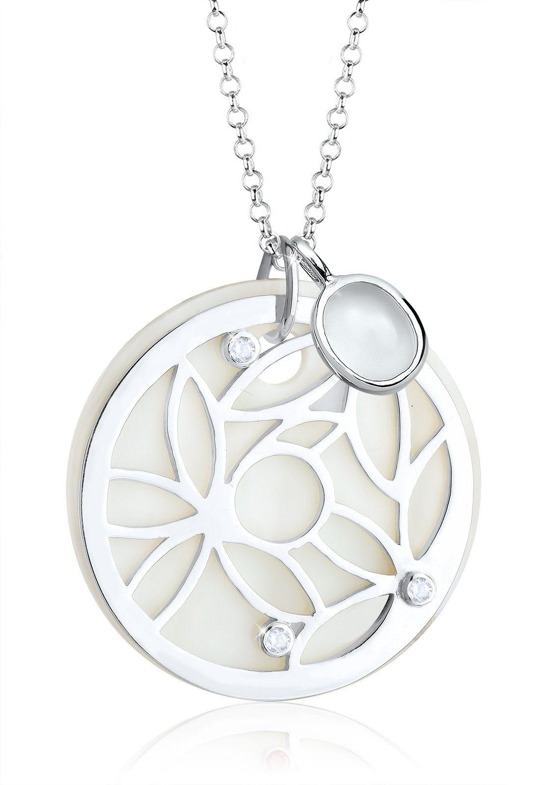 Elli Halskette »Ornament Perlmutt Edelsteine 925 Sterling Silber«