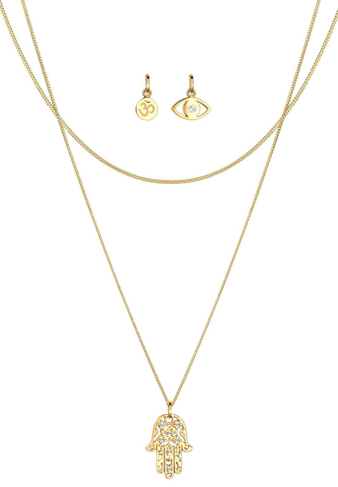 Elli Set: Halskette »Anhänger Set Om Hamsa Hand Evil Eye 925 Silber« 3 tlg.