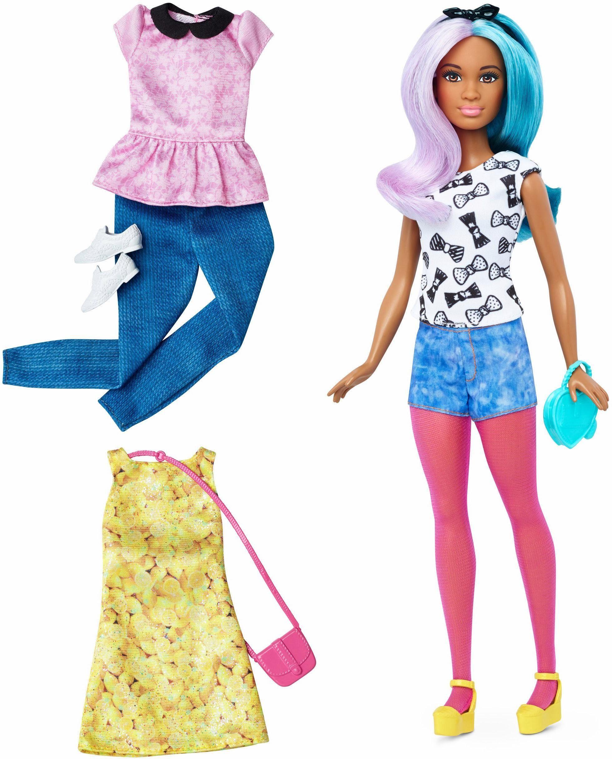 Mattel Puppe, »Barbie Fashionistas Style Puppe und Moden mit Blau-Lila Haaren«
