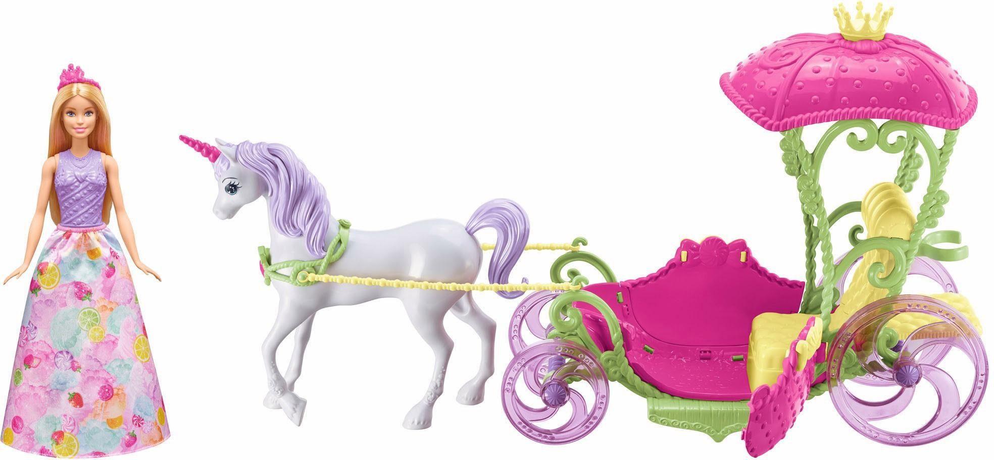 Mattel Puppen Kutsche, »Barbie Bonbon Prinzessin, Einhorn & Kutsche«