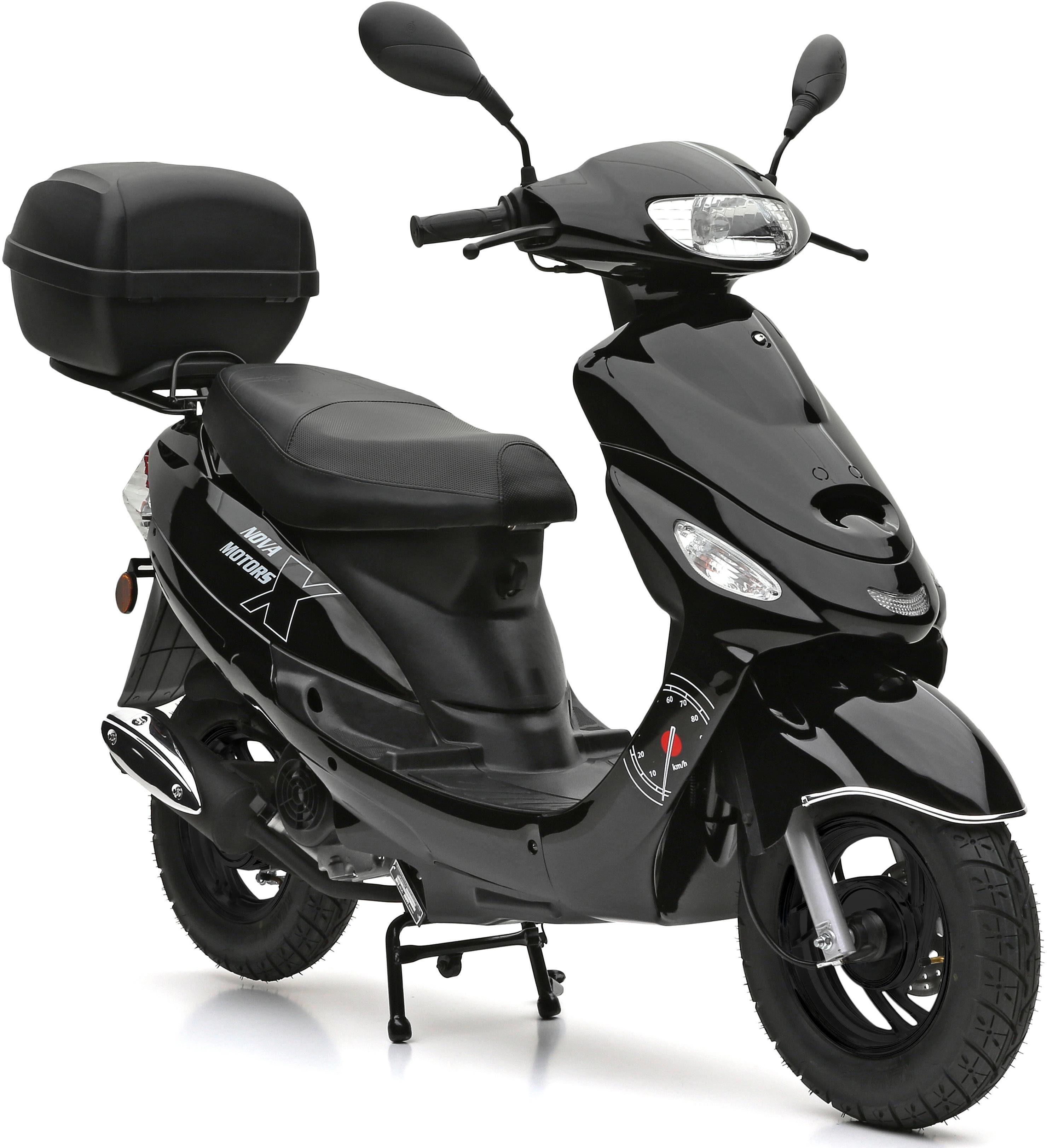 Nova Motors SET: Mofaroller inkl. Topcase, Faltgarage, Kettenschloss, 49-ccm, 25 km/h, »City Star«