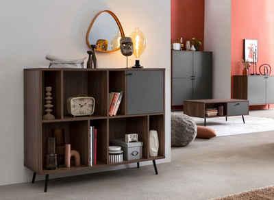 SalesFever Bücherregal, in moderner walnussfarbe