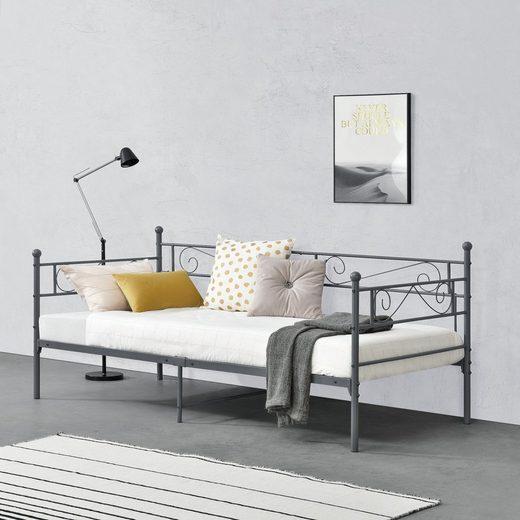 en.casa Metallbett, »Kerava« Einzelbett Bettsofa Tagesbett 90x200cm Kojenbett Jugendbett mit Lattenrost dunkelgrau