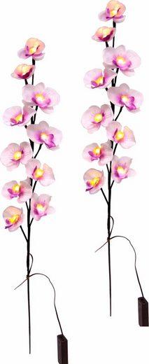 Kunstpflanze »Orchidee mit LED« (Set, 2 Stück)
