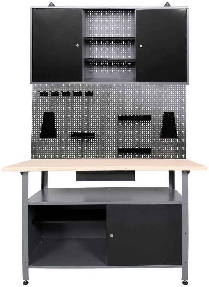 Werkzeugschrank metall  Werkstatt-Set »3-tlg«, Werkbank, Werkzeugschrank, und Lochwand mit ...