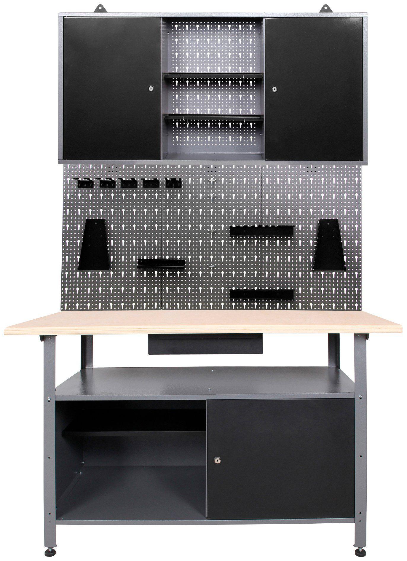 ONDIS24 Werkstatt-Set »3-tlg«, Werkbank, Werkzeugschrank, und Lochwand mit Metall Haken