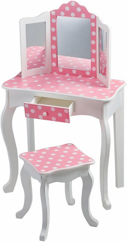teamson kids schminktisch schminktisch mit hocker rosa gepunktet f r kinder online kaufen