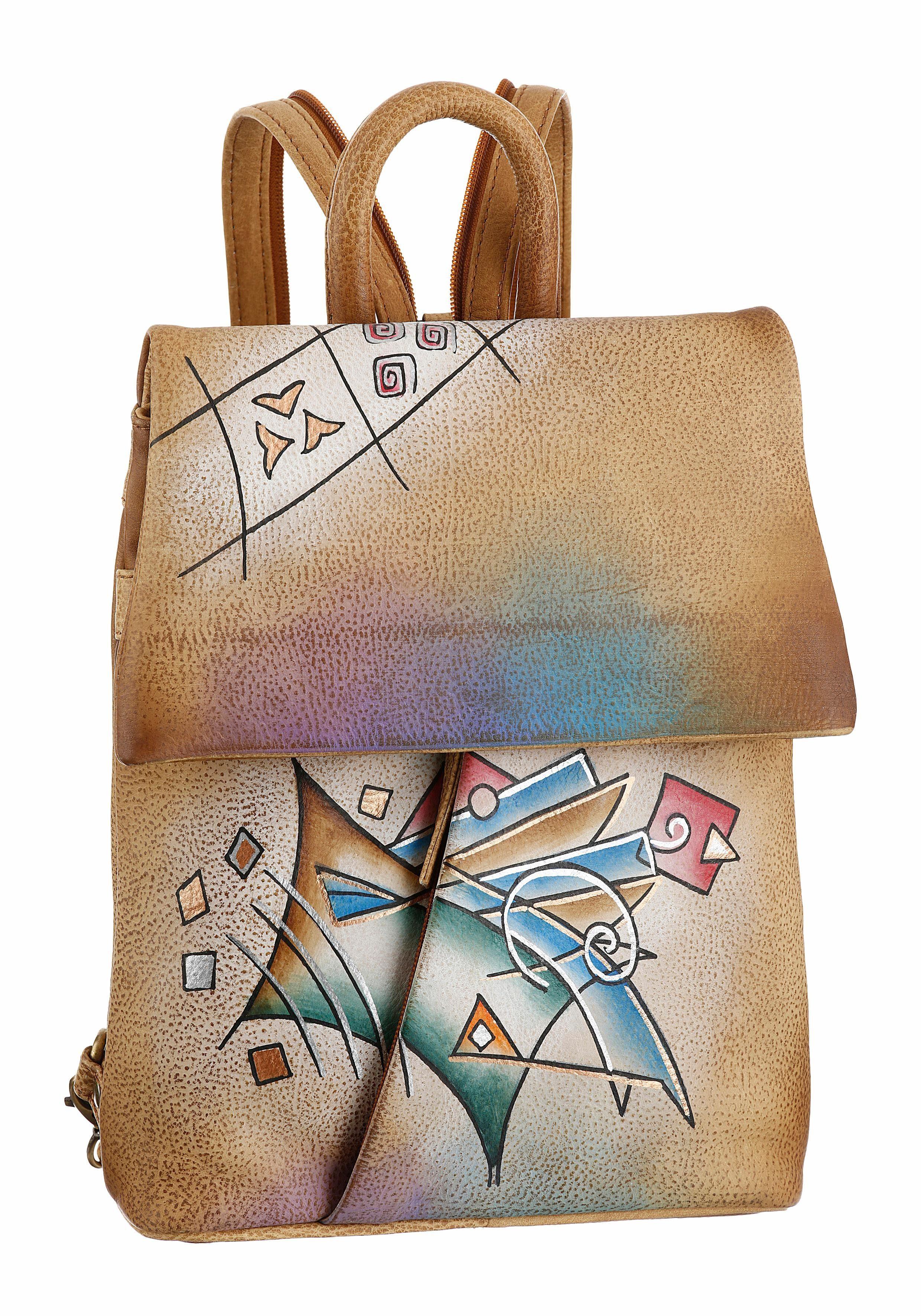 Art & Craft Cityrucksack, aus Leder mit praktischen Rückfach