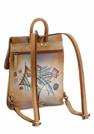 Art & Craft City Backpack In Leather With Practical Rear Fold