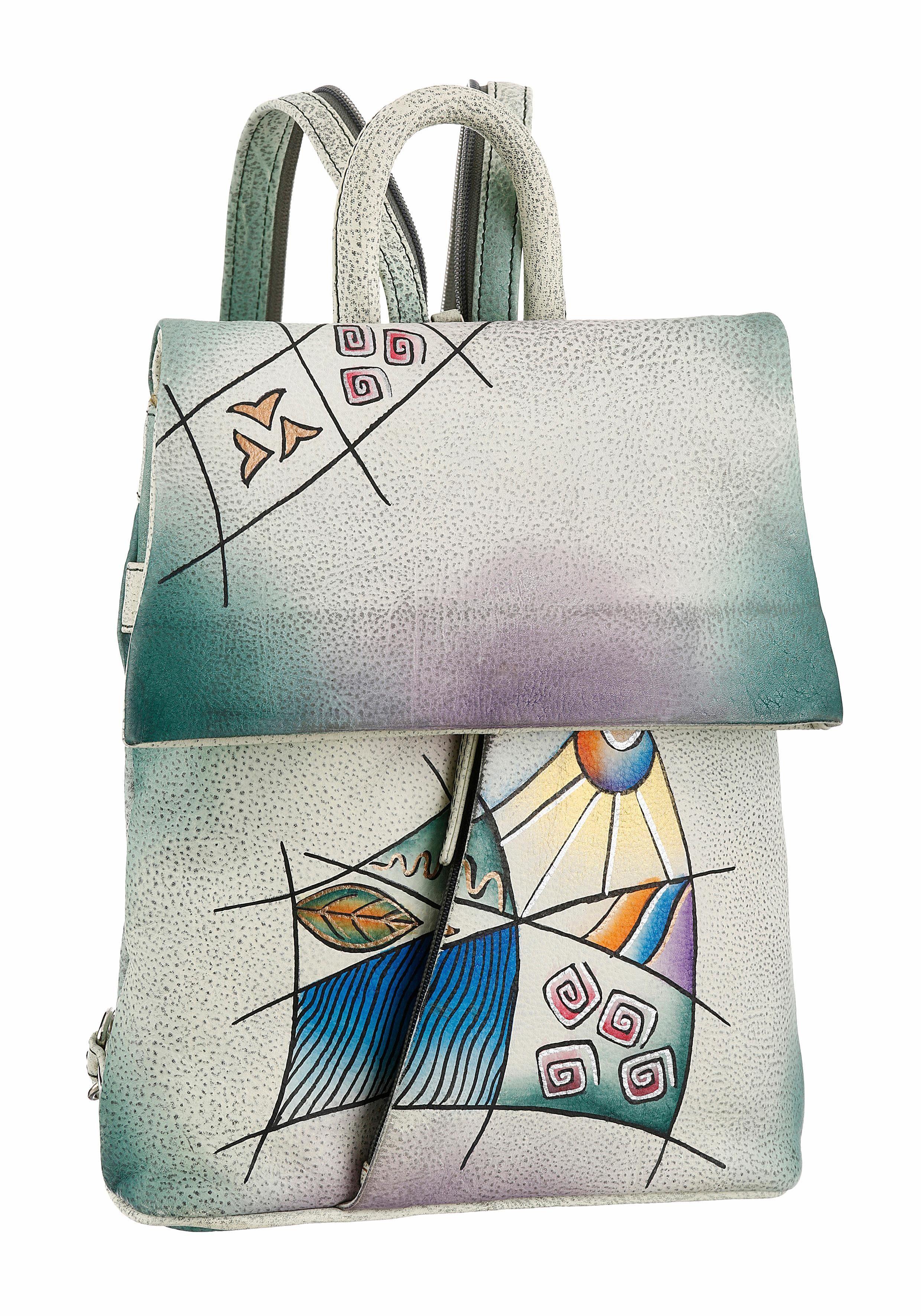 Art & Craft Cityrucksack, aus Leder mit praktischer Einteilung