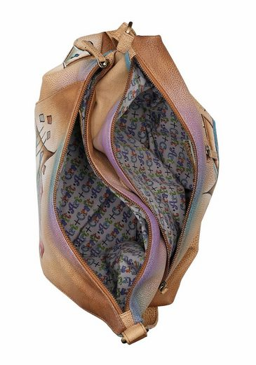 Art & Craft Umhängetasche, aus Leder mit praktischem Reißverschluss-Rückfach