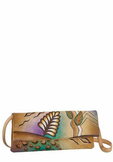 Art & Craft Clutch, aus Leder mit praktischem Reißverschluss-Rückfach