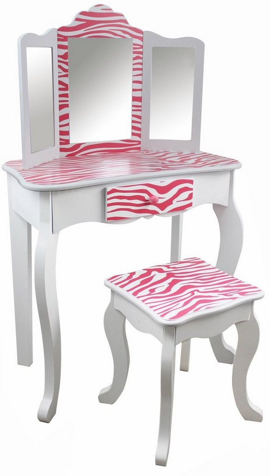teamson kids schminktisch f r kinder schminktisch mit hocker pink gestreift online kaufen otto. Black Bedroom Furniture Sets. Home Design Ideas