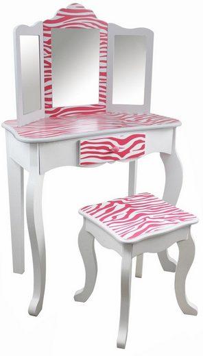 teamson kids schminktisch f r kinder schminktisch mit hocker pink gestreift online kaufen otto. Black Bedroom Furniture Sets. Home Design Ideas