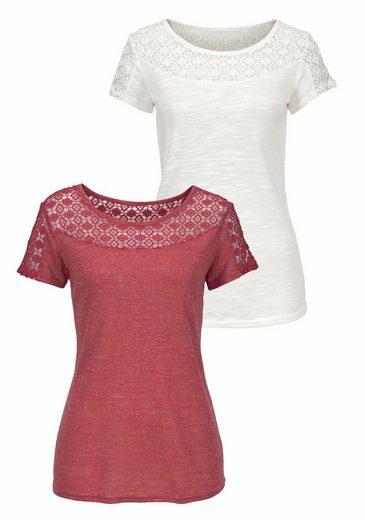 Vivance Shirts (2 Stück) mit weicher Spitze