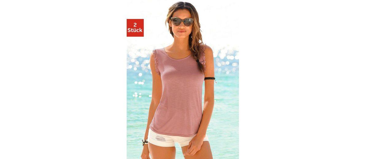 LASCANA Shirts (2 St眉ck) mit Volants an den Armausschnitten